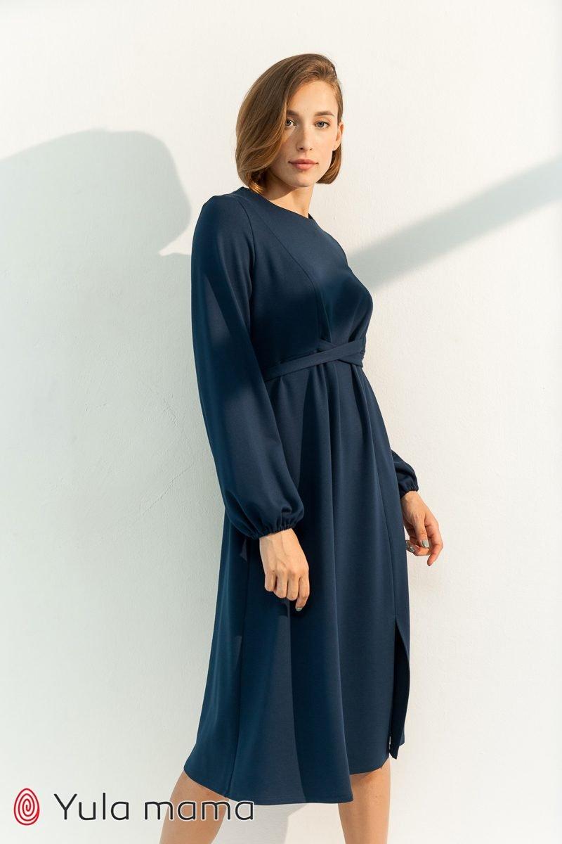 Нарядное платье для беременных и кормящих Vicky темно-синий