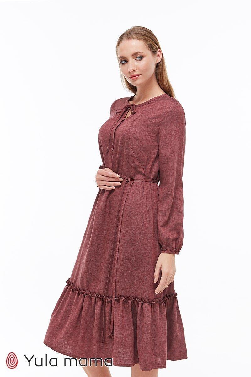 Платье миди для беременных и кормящих Monice бордовый меланж