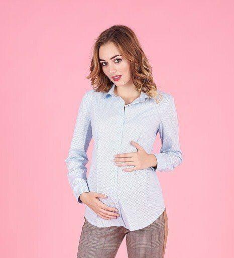 Рубашка для беременных 1308224 голубой горошек