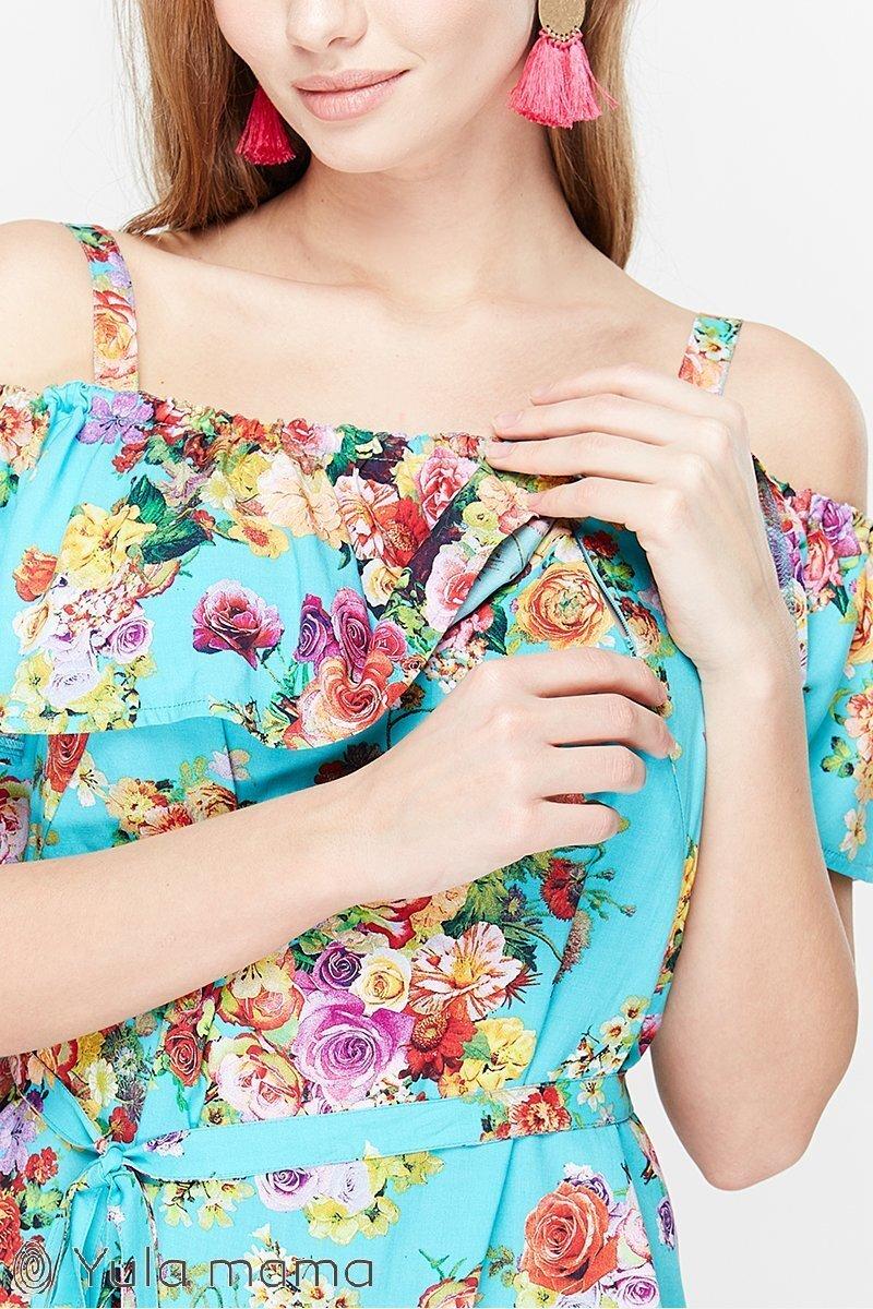 Блузка для кормления Brenda цветы на аквамарине