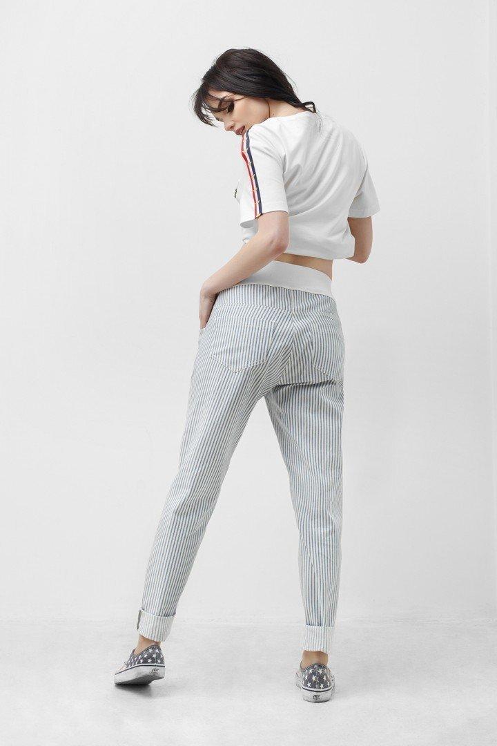 Штаны для беременных 1823 1053 белый в серую полоску