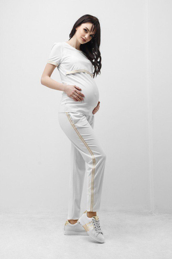 Спортивні штани для вагітних 1837 0338 білі