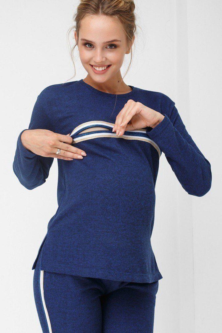Кофта для беременных и кормящих 1869-1064 синяя
