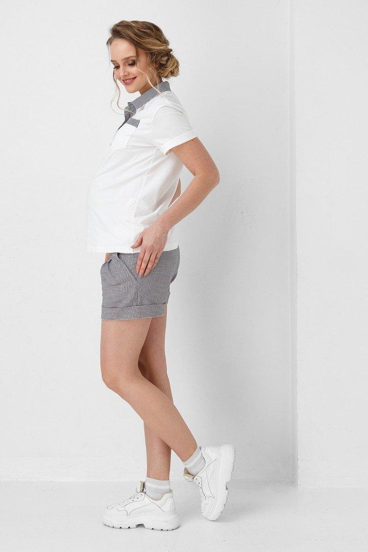 Футболка поло для беременных 1902 1046 молочная