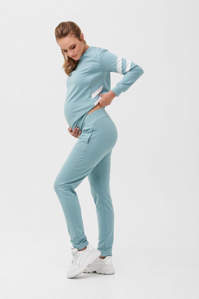 Спортивный костюм для беременных и кормящих 2085 1407 сине-зелёный