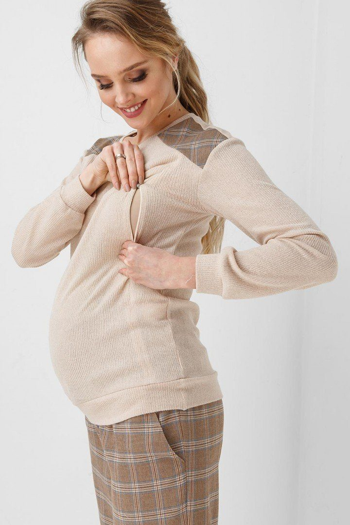 Кофта для беременных и кормящих 1932-1089 бежевая