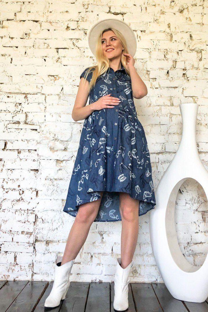 Платье для беременных и кормящих 1945 1085 синее