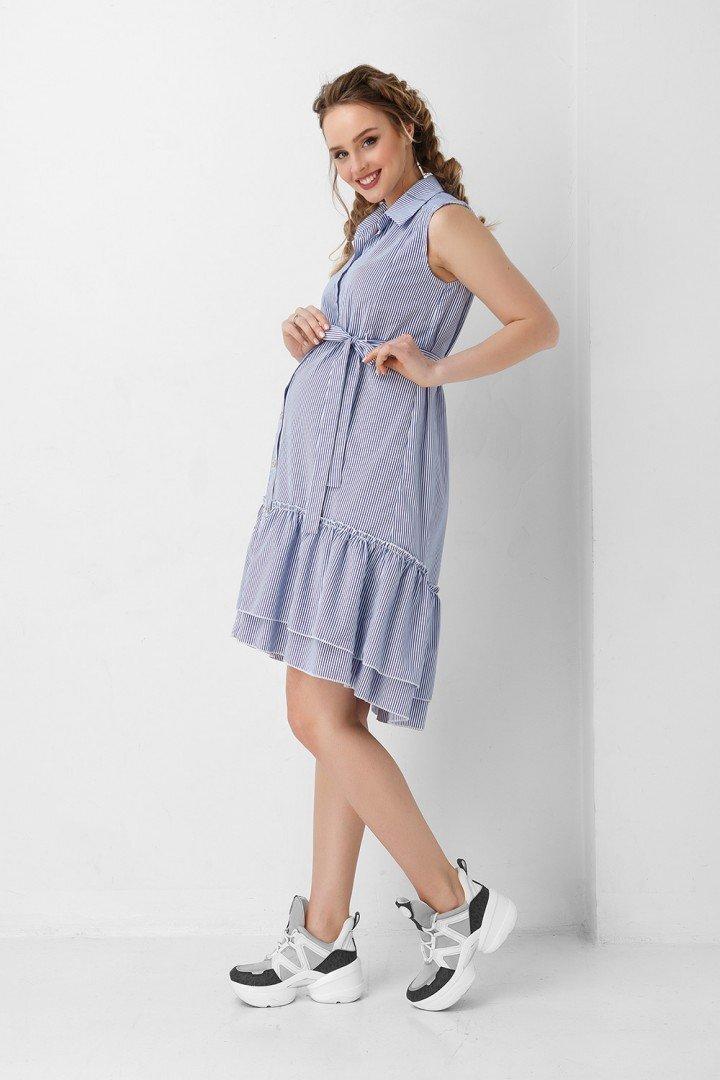 Платье для беременных и кормлением 1946 1034 голубое