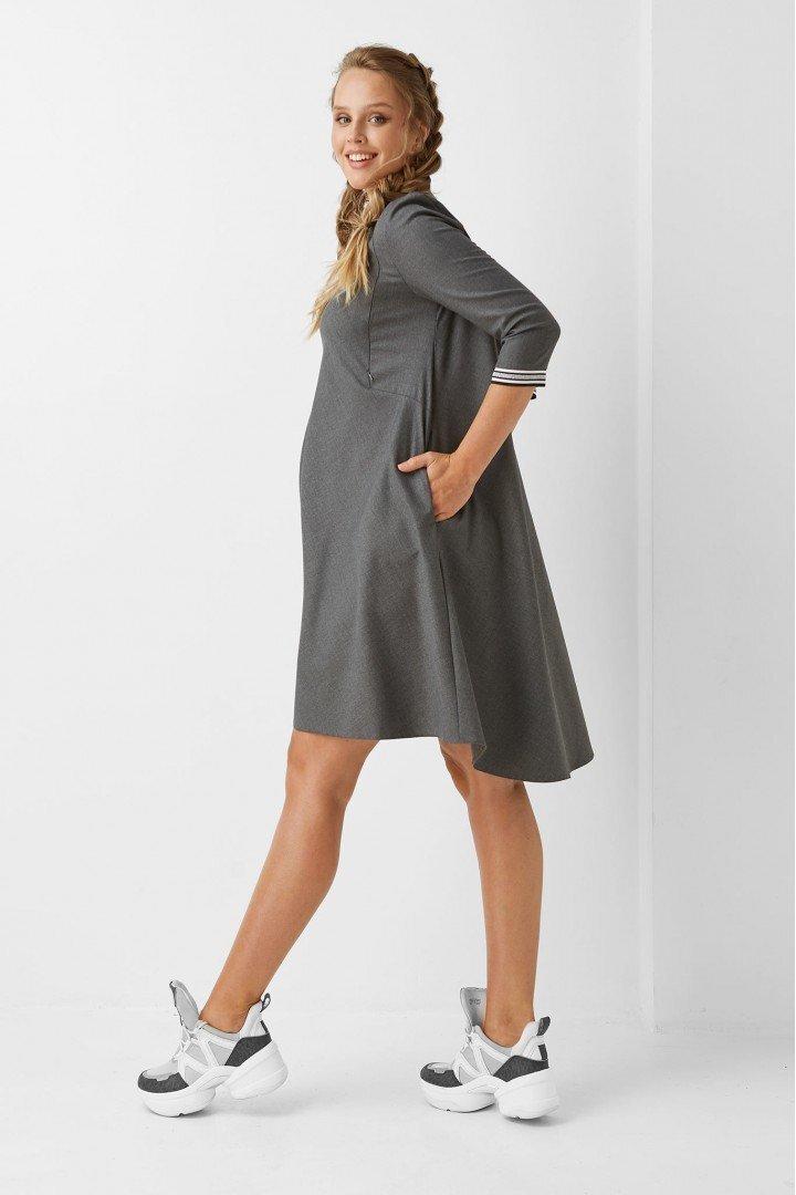 Платье для беременных и кормящих мам 1962-1205 серое