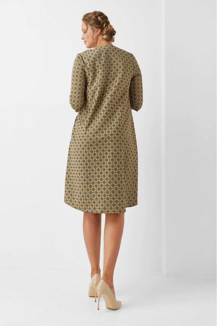 Стильное платье для беременных 1963-1219 Бежевый ромб