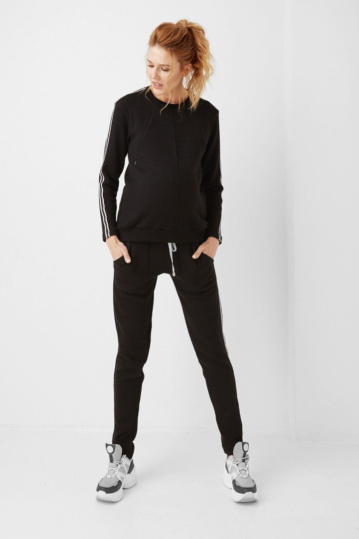 Спортивный костюм для беременных кормящих 1970-0004 черный