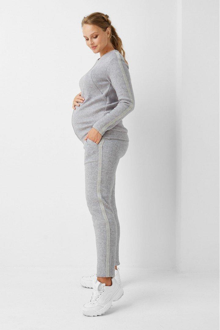 Кофта для беременных и кормящих 1970-1093 серая