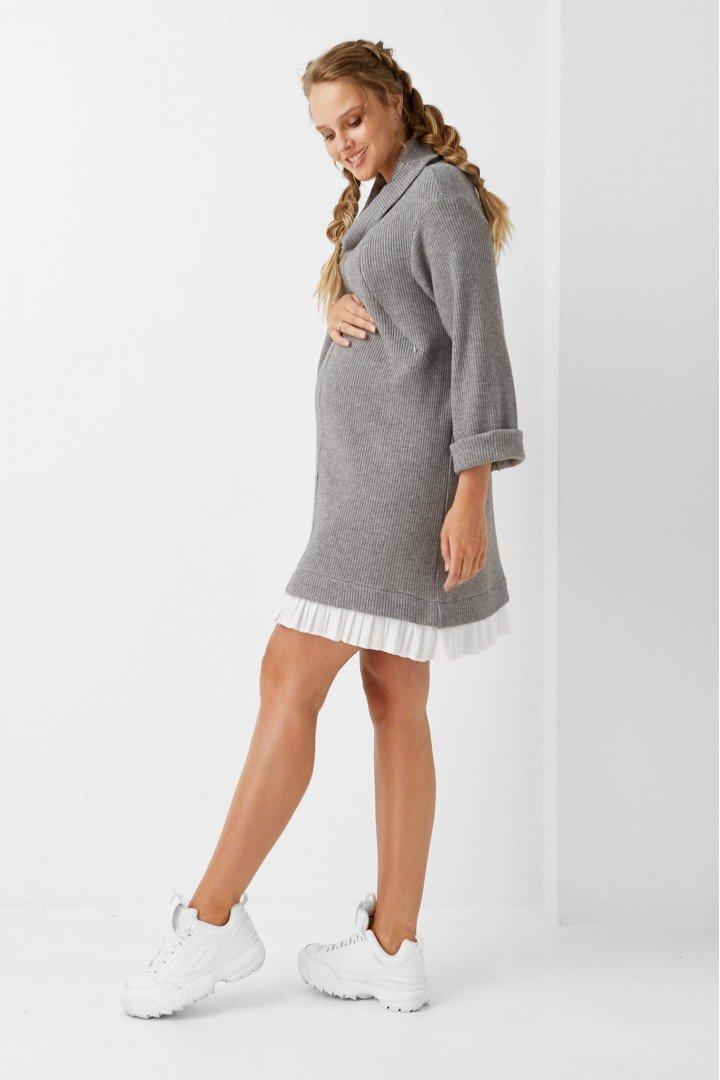 Платье для беременных и кормящих 1972-1215 cерое