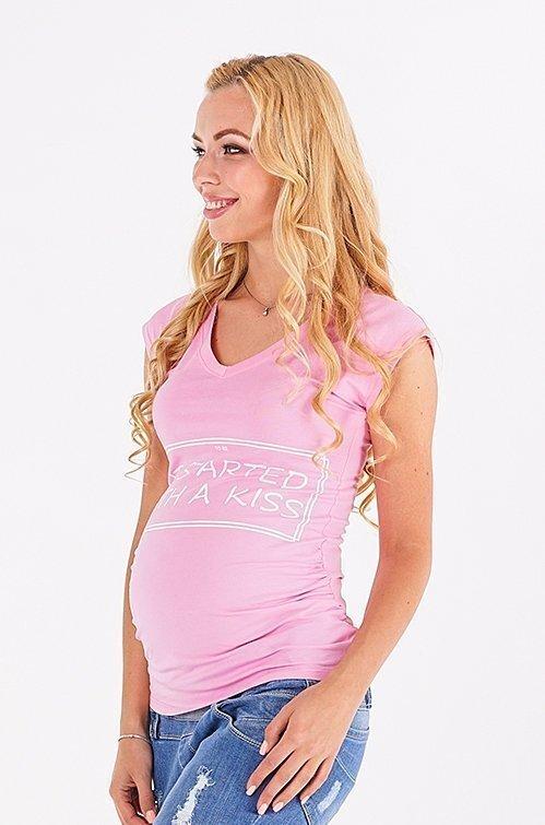 Футболка для вагітних 20014041-61 рожевий напис