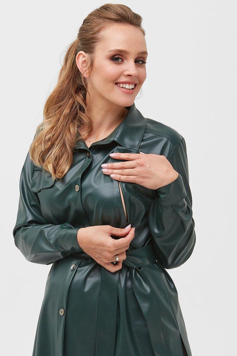 Рубашка с эко-кожи для беременных 2036 1324 темно-зеленый
