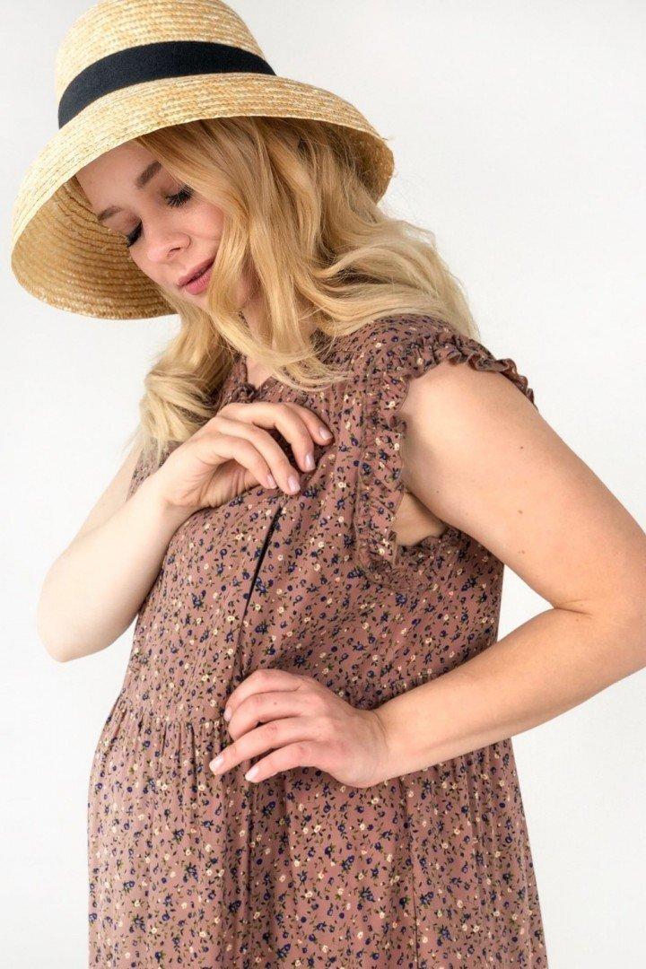 Плаття для вагітних і годуючих 2042 0002 коричневе