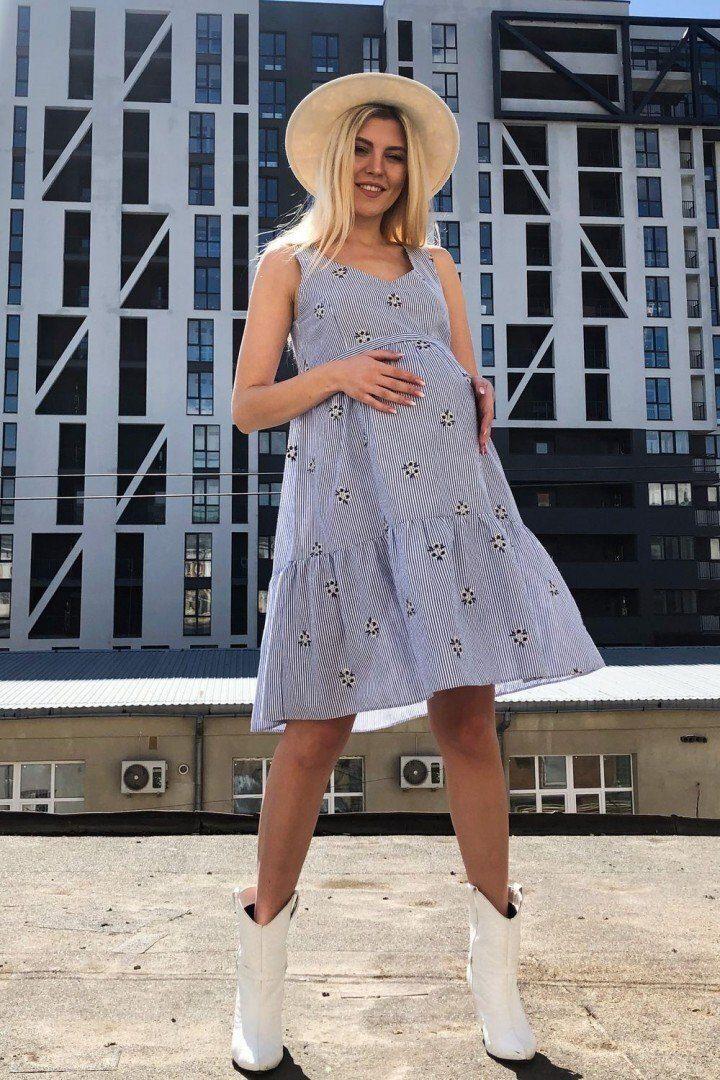 Платье для беременных и кормящих 2050 1081 голубое