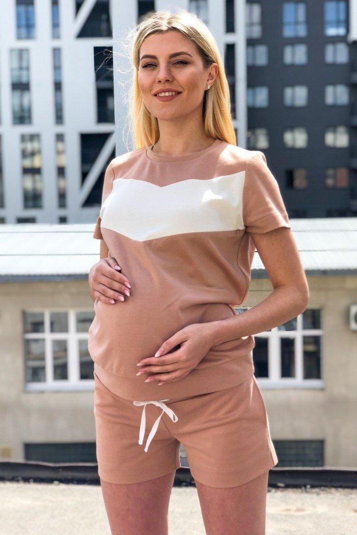 Футболка для беременных и кормящих 2051 1313 карамель