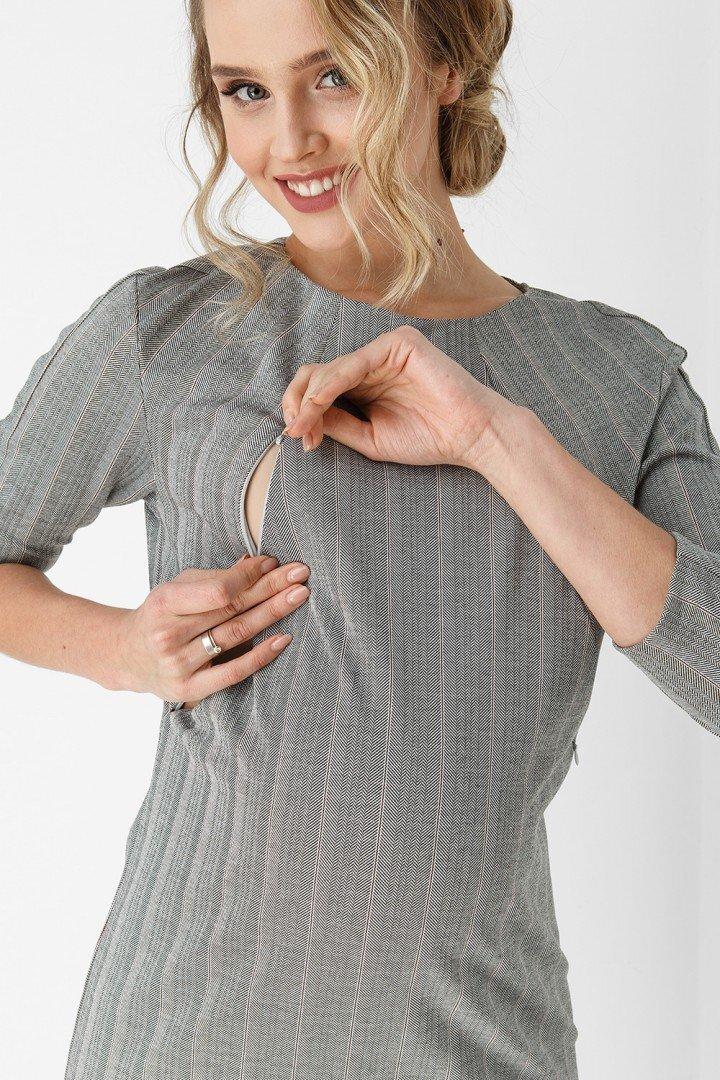 Платье-футляр для беременных и кормящих 1888-1067 серое