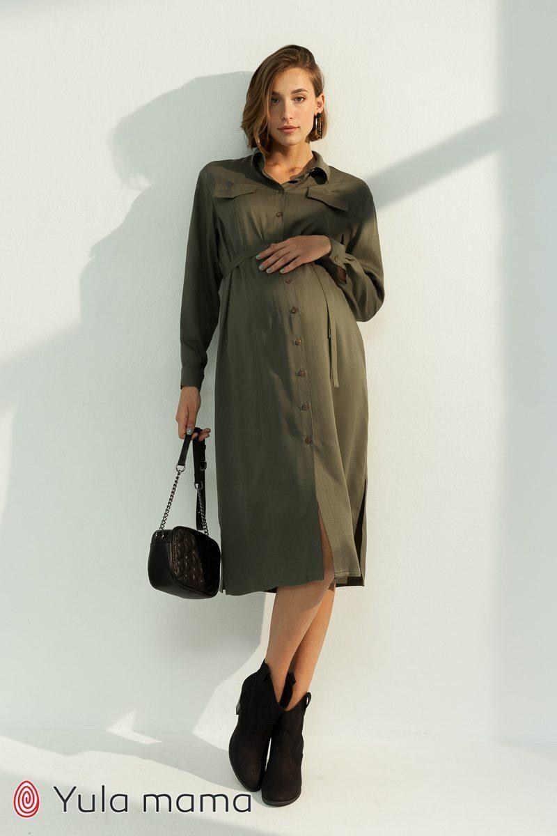 Сукня-сорочка для вагітних і годуючих Sabrina хакі