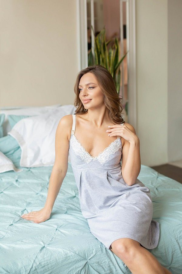 Ночная рубашка для беременных и кормящих меланж 25202