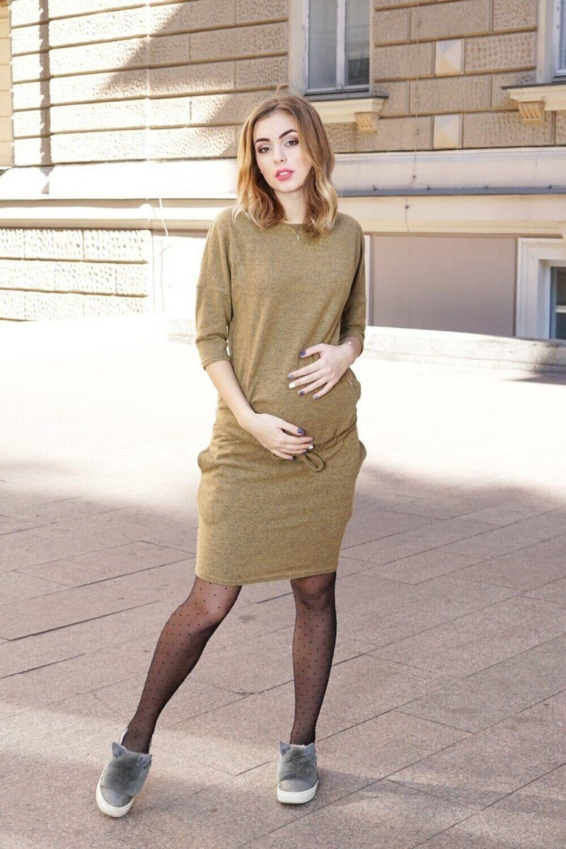 Плаття для вагітних 4009-071 гірчичне