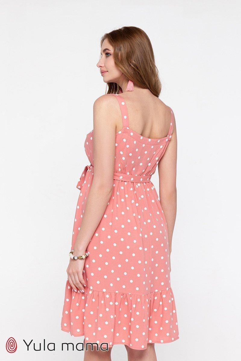 Сарафан в горошек для беременных и кормящих Carol темно-розовый