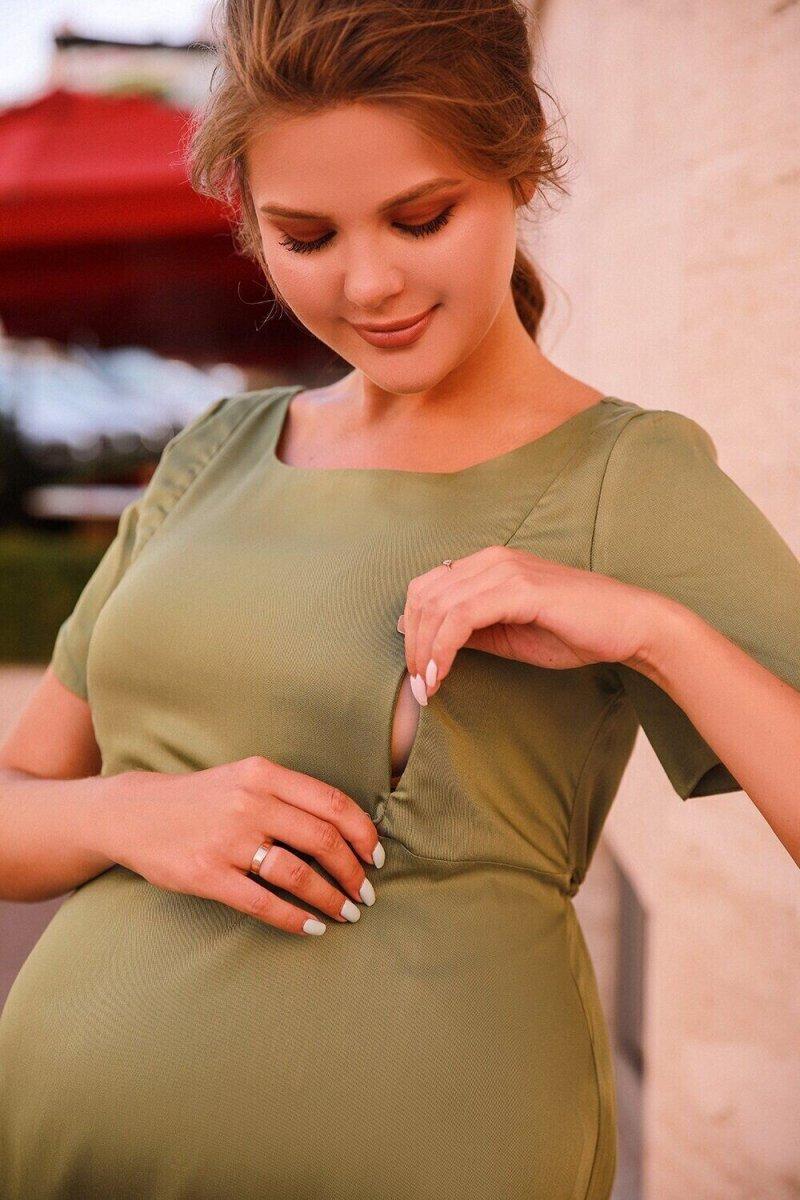 Платье для беременных и кормящих 4182616 хаки