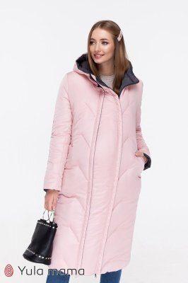 Зимове пальто для вагітних Tokyo графіт + пудра