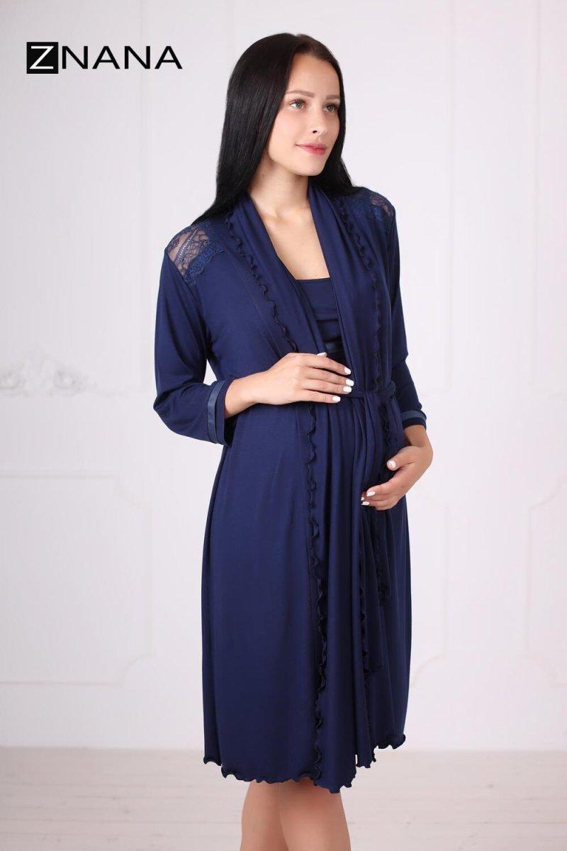 Комплект Lace темно-синий (халат + ночная рубашка)