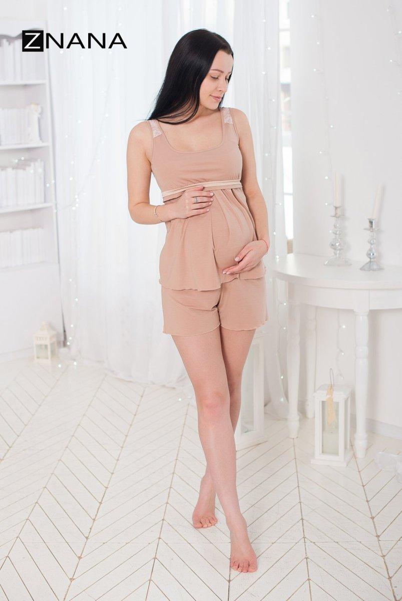 Комплект Lace светлый беж (халат + пижама) для беременных и кормящих