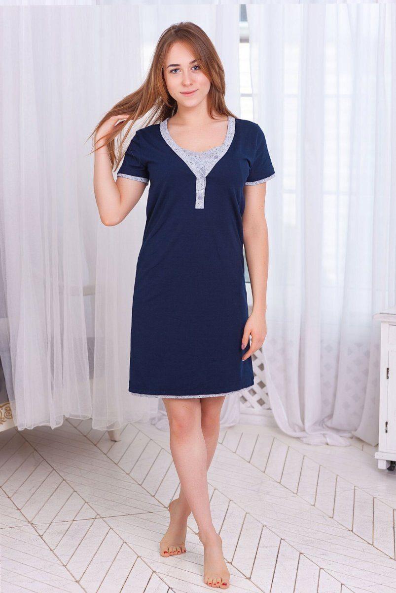 Ночная рубашка Favorite т.синяя/листик для беременных и кормления