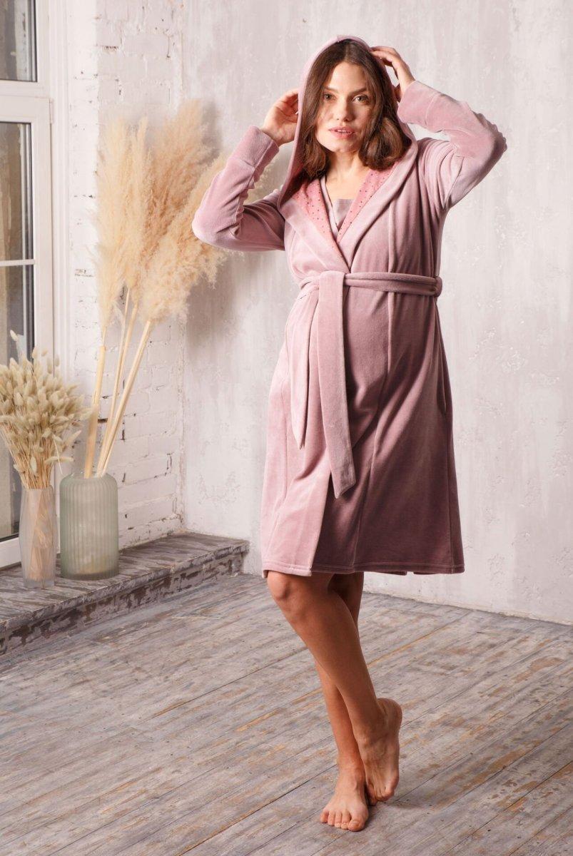 Комплект Care пудра-беж/звездочка (халат с капюшоном + ночная рубашка)