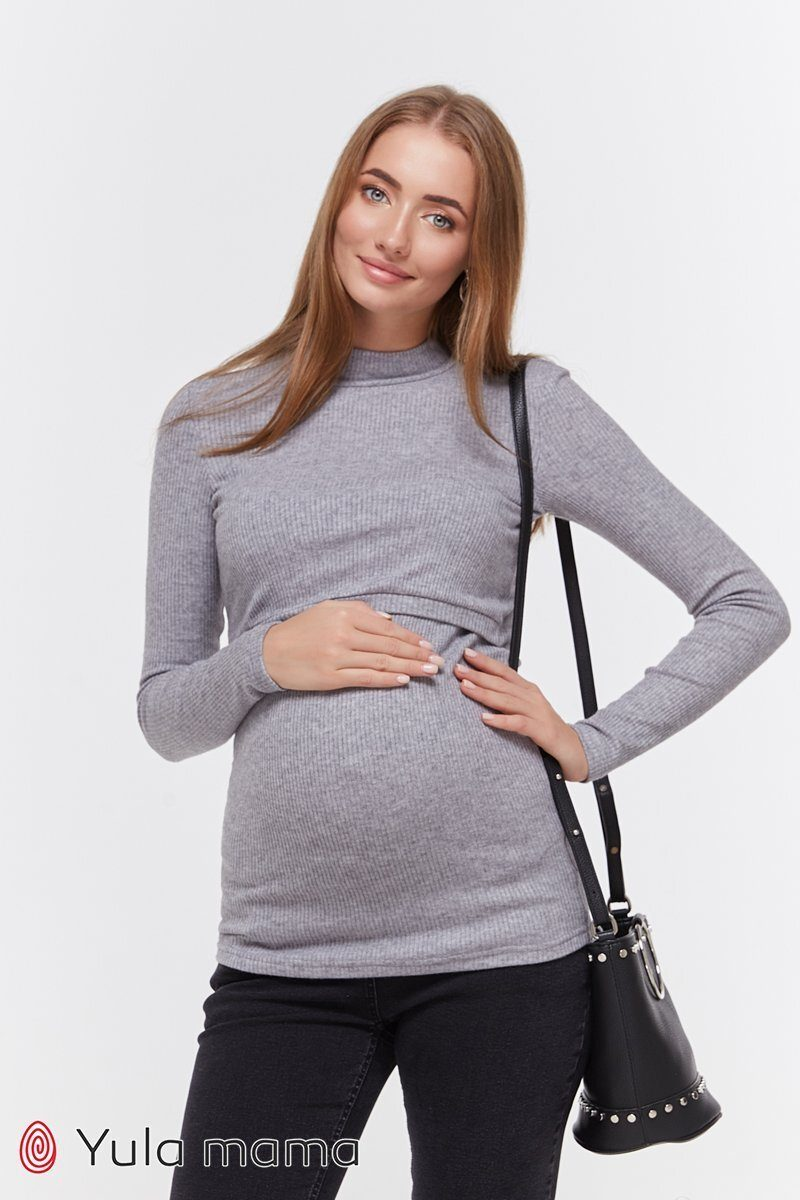 Базовый гольф для беременных и кормящих Lecie warm серый