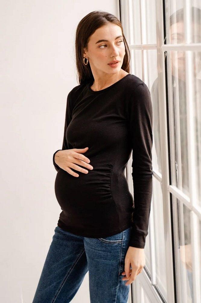 Утепленный джемпер для беременных 4024060 черный янтарь