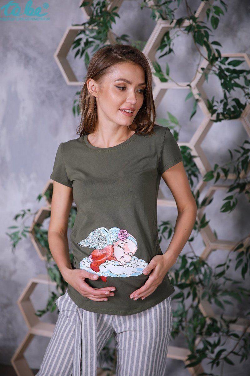 Футболка для беременных 4076041-57 хаки