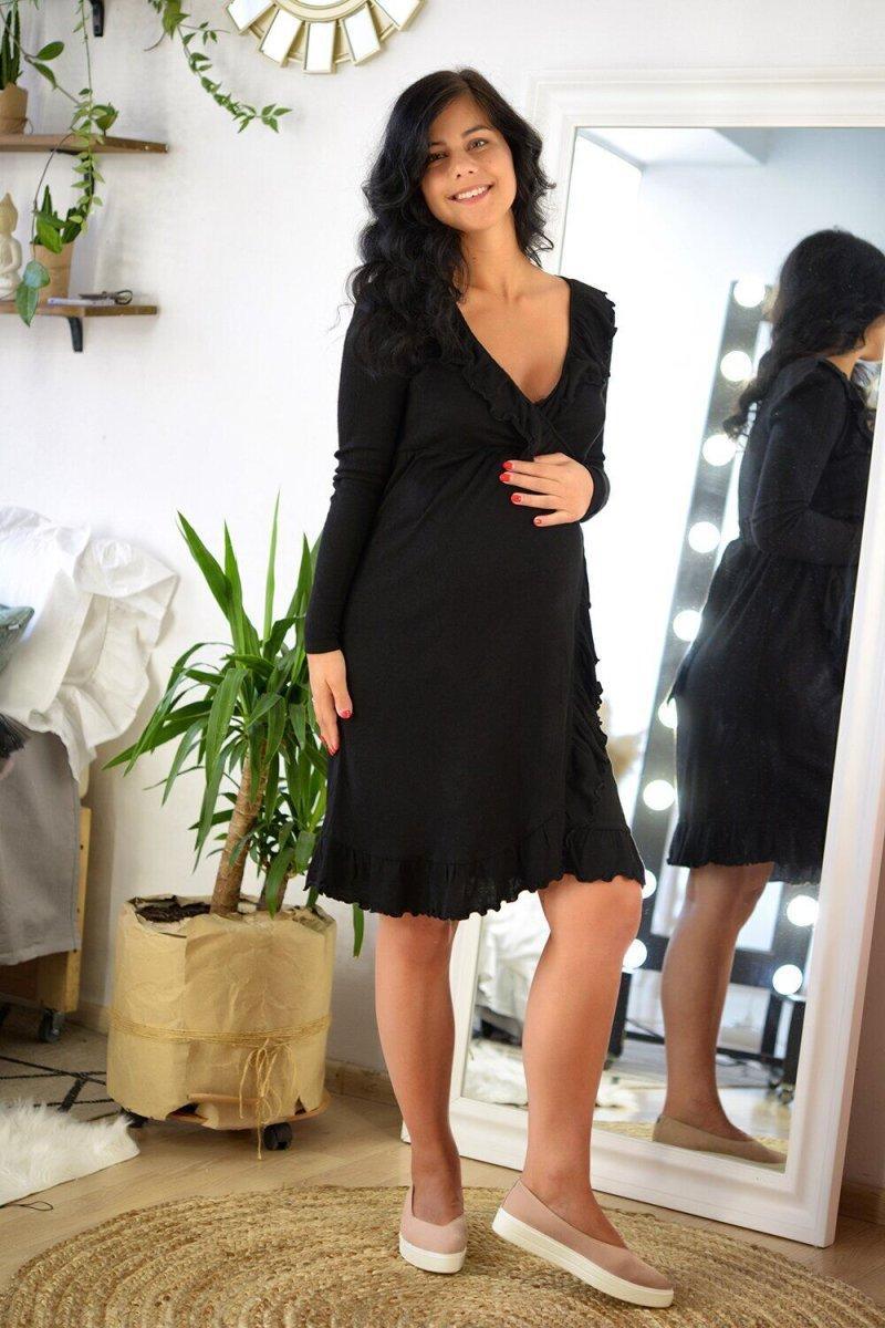 Нарядное платье для беременных и кормящих 4134803 Черное
