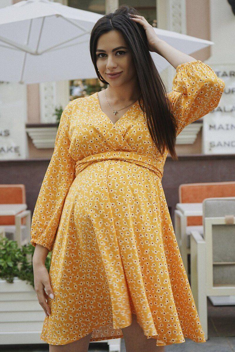Платье для беременных 4243726 жёлтое sale