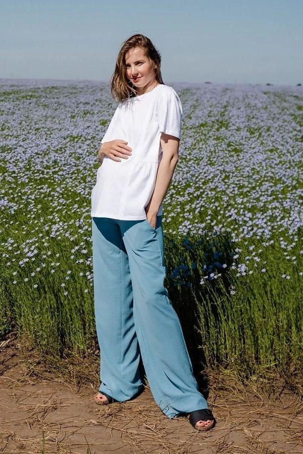 Брюки для беременных 4247752 серо-голубой