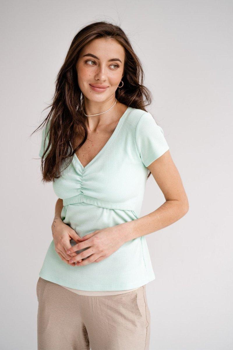Футболка для беременных и кормящих 4307138 мятный