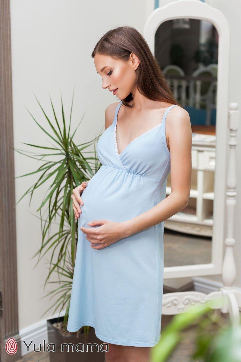Ночнушка для беременных и кормящих мам Viola голубая