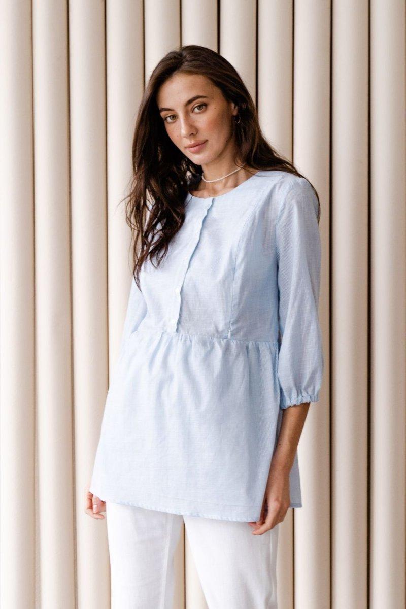 Блуза для беременных и кормящих 4317737 голубой