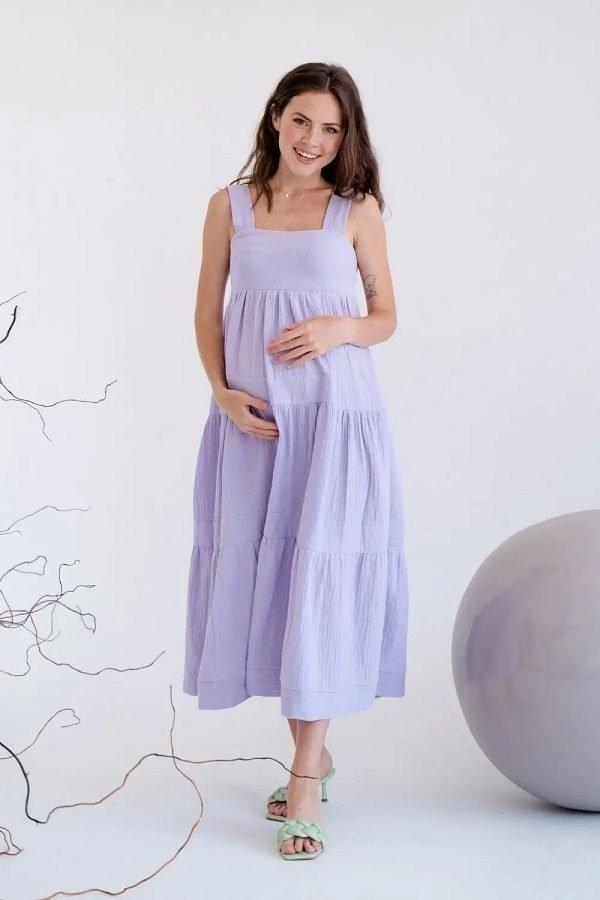 Муслиновый сарафан для беременных 4323746 лавандовый