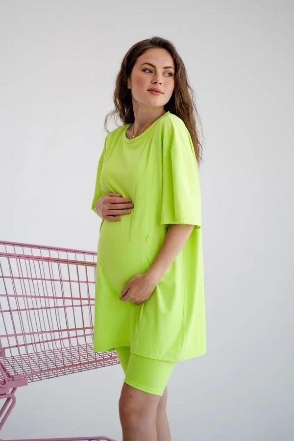 Футболка для беременных и кормящих 4332041 салатовый неон
