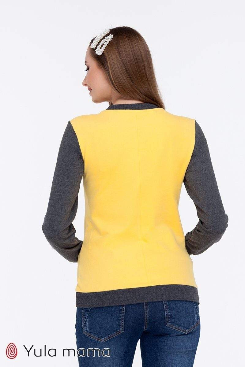 Стильный свитшот для беременных и кормящих Deni желтый