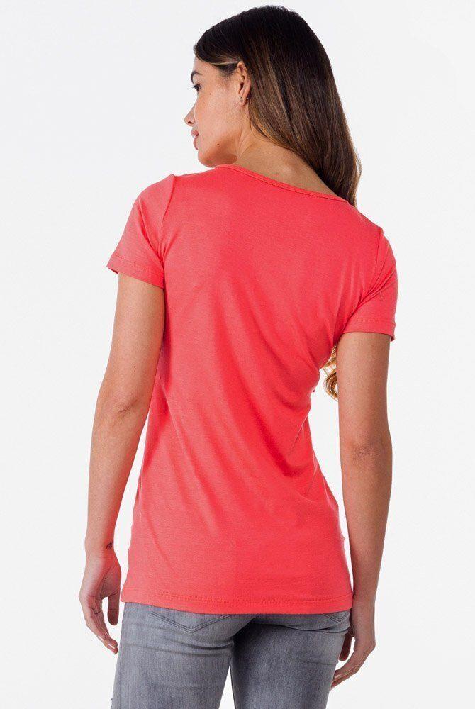 Удлиненная футболка с рюшем для беременных и кормящих (коралл)