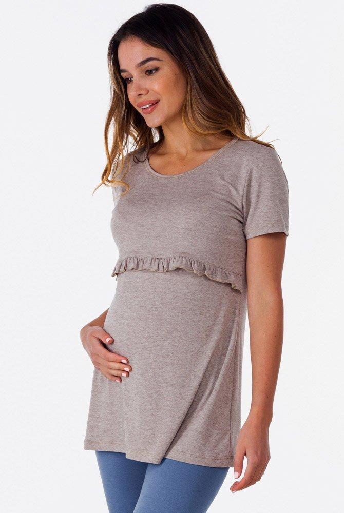 Удлиненная футболка с рюшем для беременных и кормящих (латте)