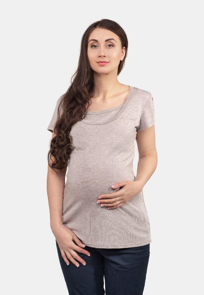 Базовая футболка для беременных и кормящих (латте)