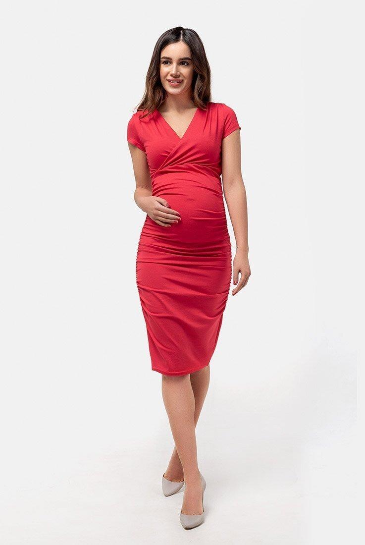 Платье-футляр для беременных и кормящих (красный)