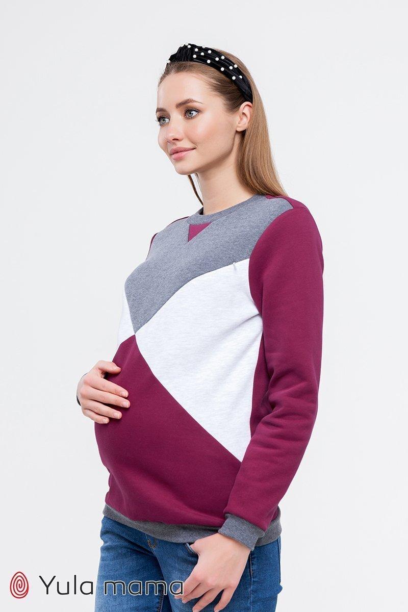 Свитшот для беременных и кормящих Cat warm вишневый